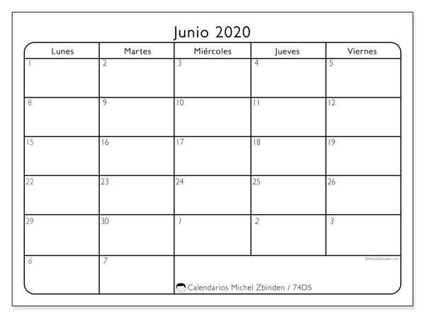 Calendario junio 2020, 74DS. Calendario gratuito para imprimir.