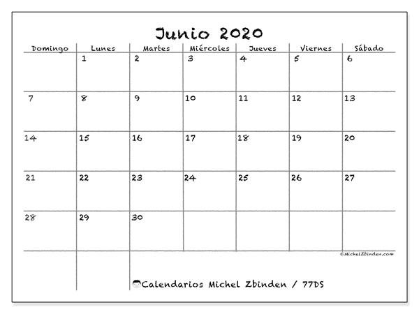 Calendario junio 2020, 77DS. Calendario mensual para imprimir gratis.