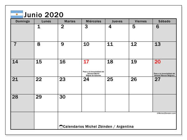 Calendario junio 2020, con los días feriados en Argentina. Calendario para imprimir gratis.