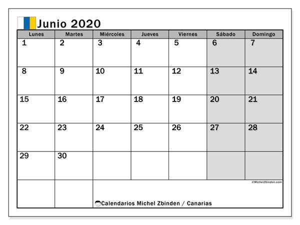 Calendario junio 2020, con días feriados en las Islas Canarias. Calendario vacaciones y festivos para imprimir gratis.