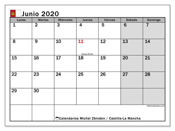 Calendario junio 2020, con días feriados en Castilla-La Mancha. Calendario para imprimir gratis con días festivos.
