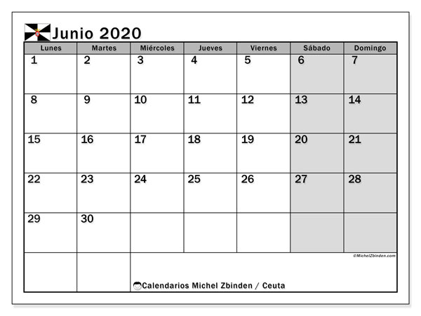 Calendario junio 2020, con días feriados en Ceuta. Calendario para imprimir gratis con días festivos.