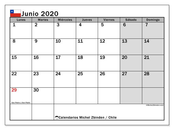 Calendario junio 2020, con días feriados en Chile. Calendario vacaciones y festivos para imprimir gratis.