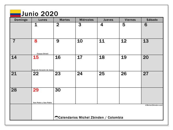 Calendario junio 2020, con días feriados de Colombia. Calendario para imprimir gratis con días festivos.