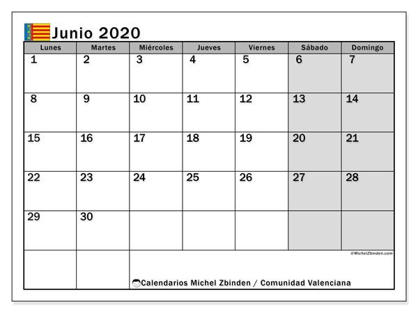Calendario junio 2020, con días feriados de la Comunidad Valenciana. Calendario vacaciones y festivos para imprimir gratis.