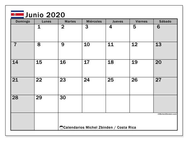 Calendario junio 2020, con días feriados de Costa Rica. Calendario para imprimir gratis con días festivos.