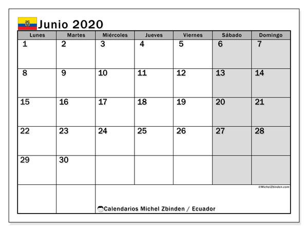 Calendario junio 2020, con días feriados en Ecuador. Calendario para imprimir gratis con días festivos.
