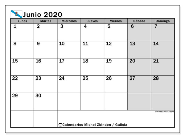 Calendario junio 2020, con días feriados en Galicia. Calendario para imprimir gratis con días festivos.