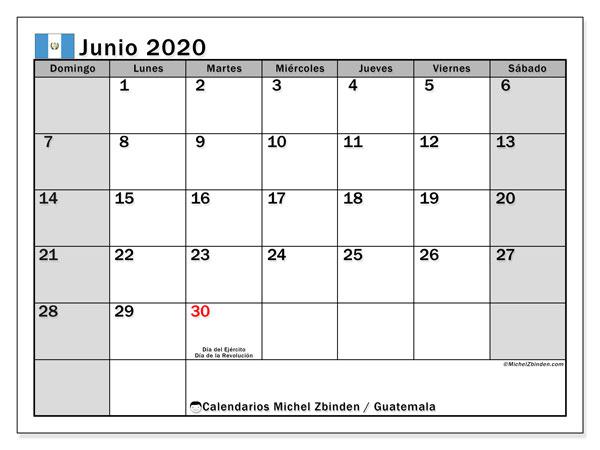 Calendario junio 2020, con días feriados en Guatemala. Calendario para imprimir gratis con días festivos.