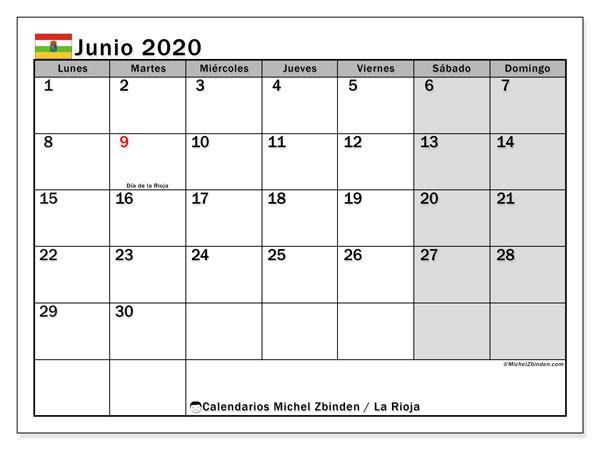 Calendario junio 2020, con días feriados en La Rioja. Calendario vacaciones y festivos para imprimir gratis.