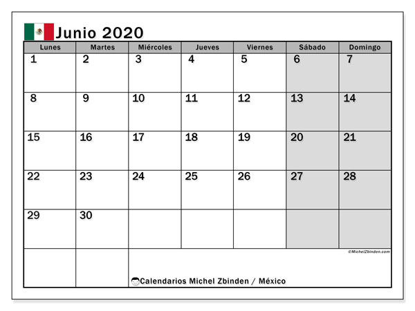 Calendario junio 2020, con los días feriados en México. Planificación para imprimir gratis.