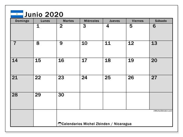 Calendario junio 2020, con días feriados en Nicaragua. Calendario vacaciones y festivos para imprimir gratis.