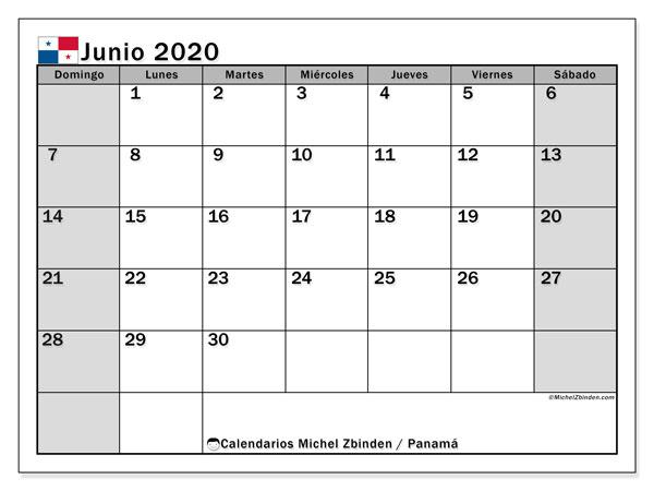 Calendario junio 2020, con días feriados de Panamá. Calendario para imprimir gratis con días festivos.