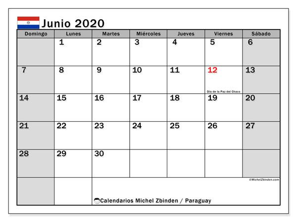 Calendario junio 2020, con los días feriados en Paraguay. Calendario gratuito para imprimir.