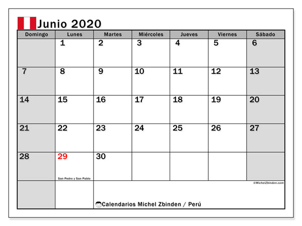 Calendario junio 2020, con días feriados en Perú. Calendario para imprimir gratis con días festivos.