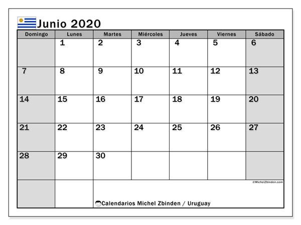 Calendario junio 2020, con días feriados de Uruguay. Calendario para imprimir gratis con días festivos.