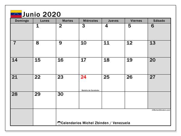 Calendario junio 2020, con los días feriados para Venezuela. Calendario mensual para imprimir gratis.