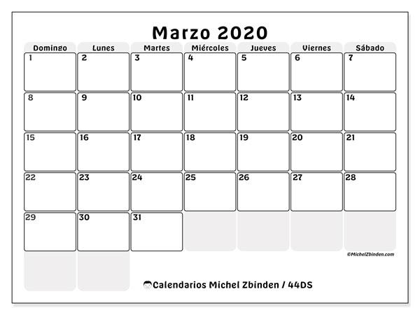 Calendario 2020 Marzo Abril.Calendarios Marzo 2020 Ds Michel Zbinden Es
