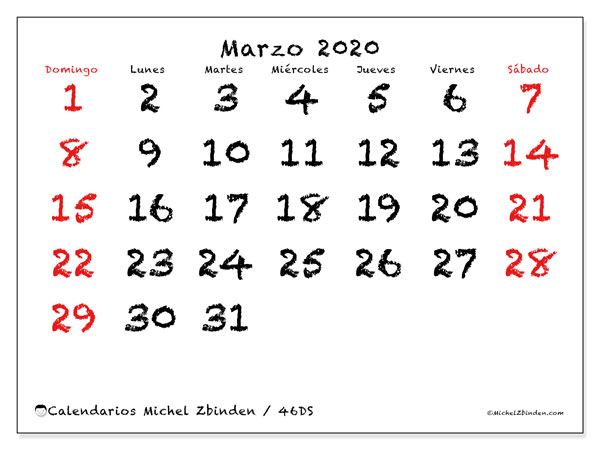 Calendario marzo 2020, 46DS. Calendario imprimible gratis.