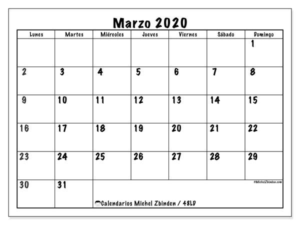 Calendario marzo 2020, 48LD. Almanaque para imprimir gratis.