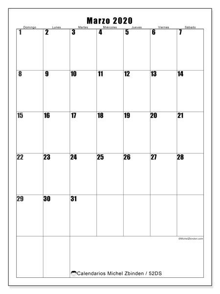 Calendario marzo 2020, 52DS. Calendario gratuito para imprimir.