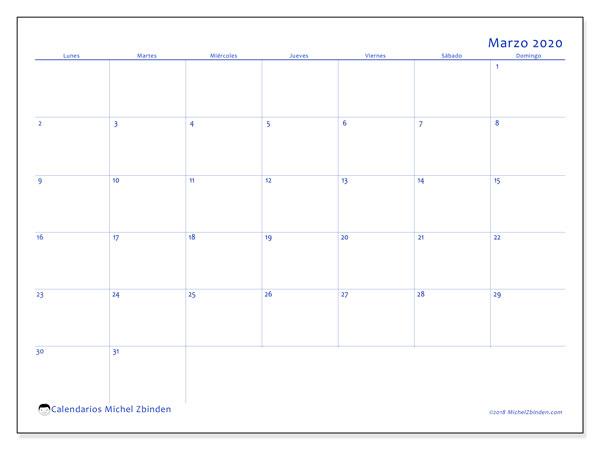 Calendario marzo 2020, 55LD. Calendario mensual para imprimir gratis.