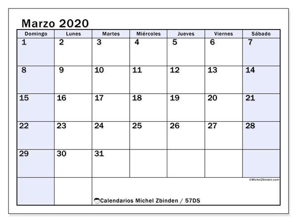 Calendario marzo 2020, 57DS. Almanaque para imprimir gratis.