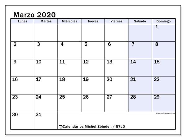 Calendario marzo 2020, 57LD. Calendario para el mes para imprimir gratis.