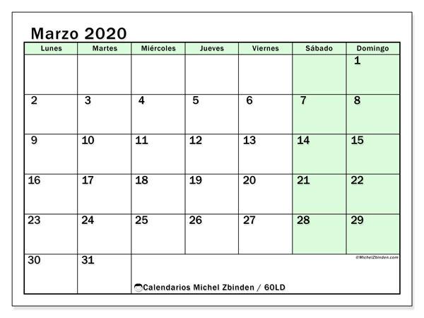 Calendario marzo 2020, 60LD. Calendario para imprimir gratis.