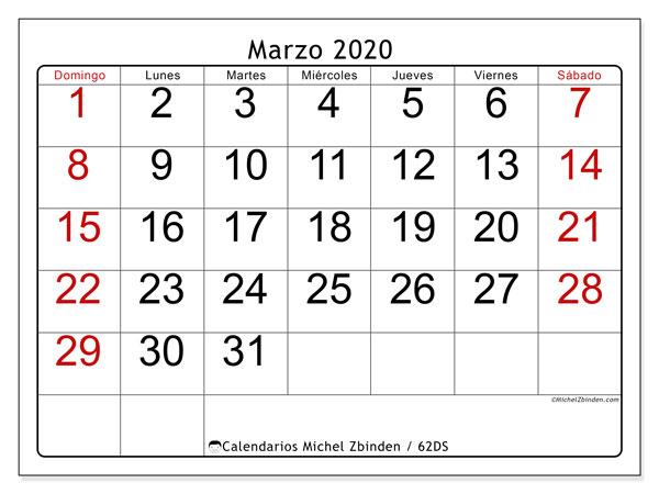 Calendario marzo 2020, 62DS. Calendario para el mes para imprimir gratis.