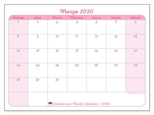 Calendario marzo 2020, 63DS. Calendario para imprimir gratis.