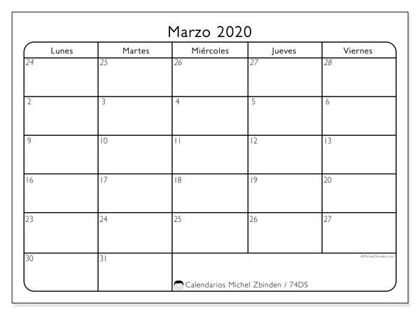 Calendario marzo 2020, 74DS. Calendario imprimible gratis.