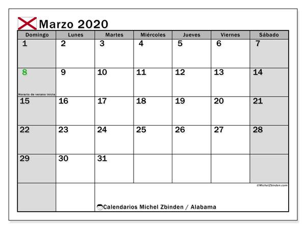 Calendario marzo 2020, con días feriados de Alabama. Calendario para imprimir gratis con días festivos.
