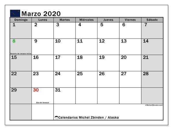 Calendario marzo 2020, con días feriados en Alaska. Calendario vacaciones y festivos para imprimir gratis.
