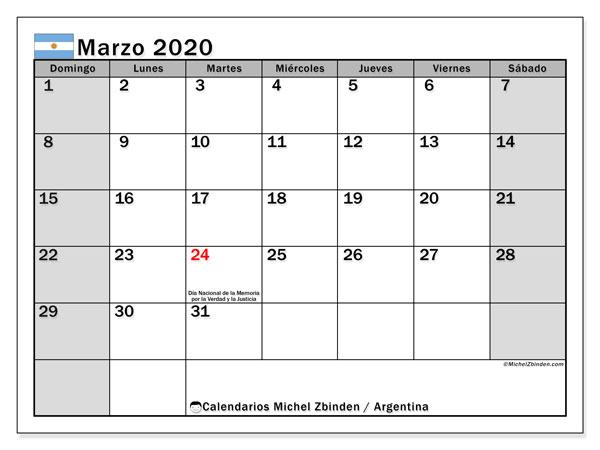 Marzo 2020 Calendario Argentina.Calendario Marzo 2020 Argentina Michel Zbinden Es
