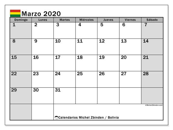 Calendario marzo 2020, con días feriados de Bolivia. Calendario para imprimir gratis con días festivos.
