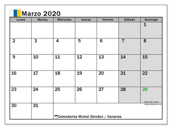 Calendario marzo 2020, con días feriados en las Islas Canarias. Calendario para imprimir gratis con días festivos.