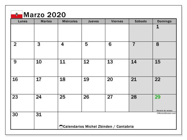Calendario marzo 2020, con días feriados en Cantabria. Calendario vacaciones y festivos para imprimir gratis.