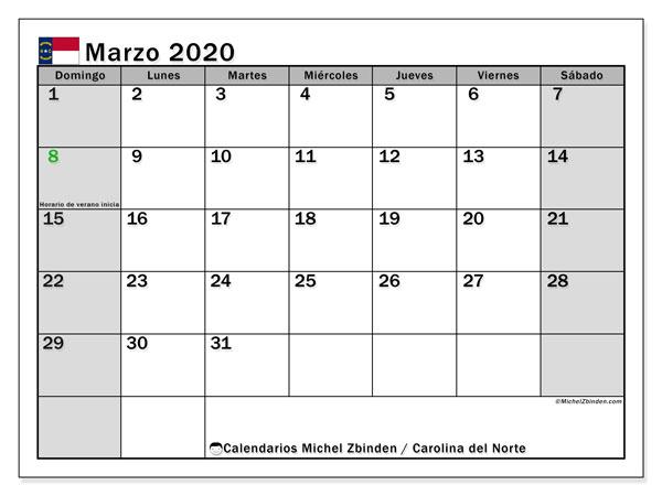 Calendario marzo 2020, con días feriados en Carolina del Norte. Calendario para imprimir gratis con días festivos.