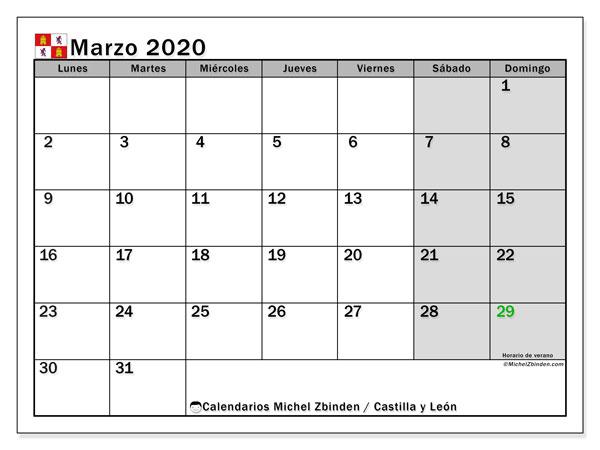 Calendario marzo 2020, con días feriados de Castilla y León. Calendario vacaciones y festivos para imprimir gratis.