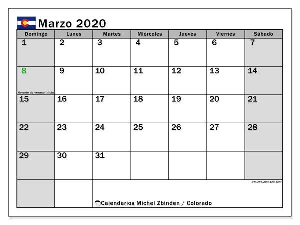 Calendario marzo 2020, con días feriados en Colorado. Calendario vacaciones y festivos para imprimir gratis.