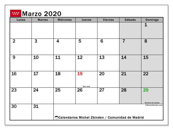 Calendario marzo 2020, con días feriados de la Comunidad de Madrid. Calendario vacaciones y festivos para imprimir gratis.