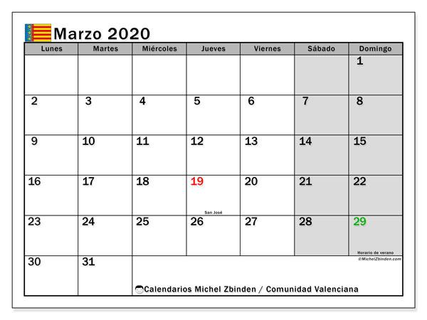 Calendario marzo 2020, con días feriados de la Comunidad Valenciana. Calendario para imprimir gratis con días festivos.