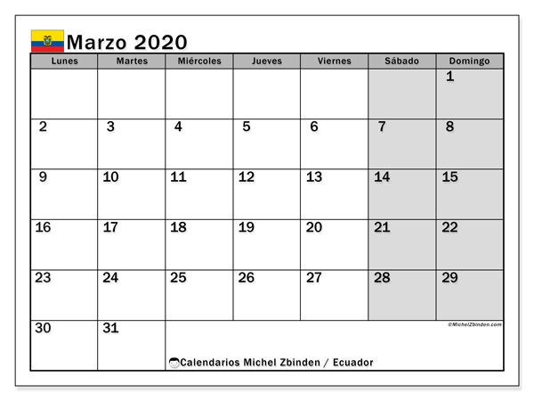 Calendario marzo 2020, con días feriados en Ecuador. Calendario vacaciones y festivos para imprimir gratis.