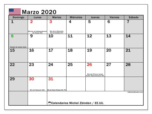 Calendario marzo 2020, con días feriados de EE.UU.. Calendario para imprimir gratis con días festivos.