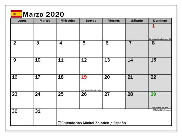 Calendario marzo 2020, con días feriados en España. Calendario vacaciones y festivos para imprimir gratis.
