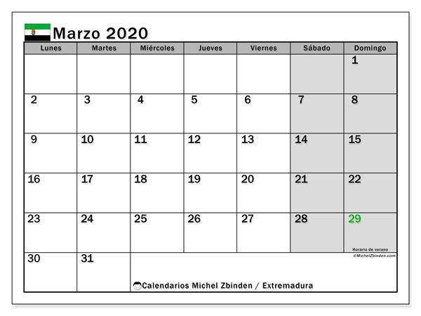 Calendario marzo 2020, con días feriados en Extremadura. Calendario vacaciones y festivos para imprimir gratis.
