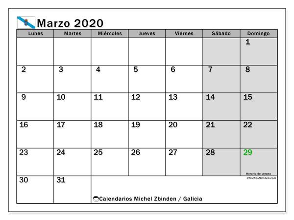 Calendario marzo 2020, con días feriados en Galicia. Calendario para imprimir gratis con días festivos.