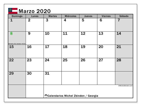 Calendario marzo 2020, con días feriados en Georgia. Calendario para imprimir gratis con días festivos.