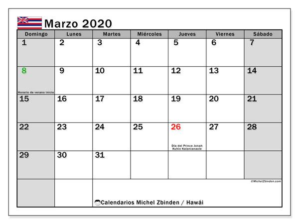 Calendario marzo 2020, con días feriados en Hawái. Calendario para imprimir gratis con días festivos.